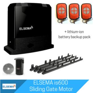 Elsema is600 sliding gate motor with lithium-ion battery backup kit
