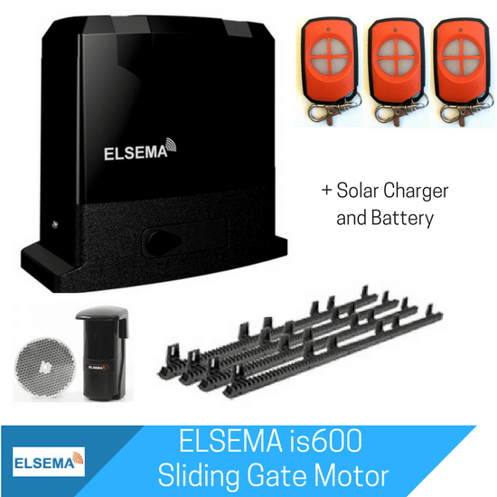 Elsema iS600 Sliding Gate Kit with Solar Charger and Battery