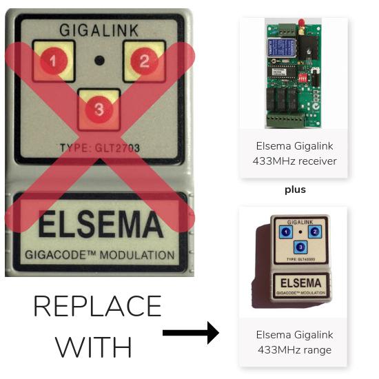 Elsema Gigalink 27MHz 3 Button Remote - Upgrade Kit
