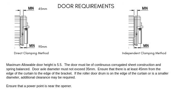 Lexo Rollerdoor - 1 Piece Measurements